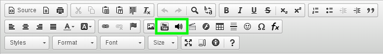 YouTube and Audio Player buttons in the CKEditor toolbar